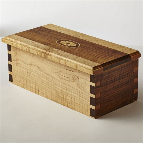 Handmade Dovetail Joints - curly walnut and curly maple box with dovetail joints and