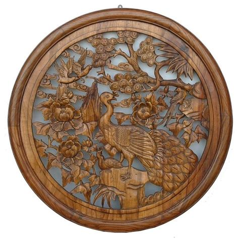 chinese wood carved round peacock wall decor asian