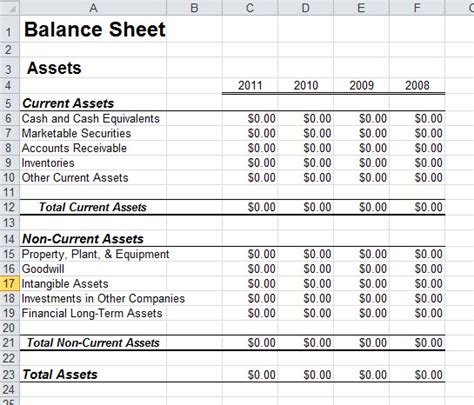 balance sheet template xls balance sheet template for