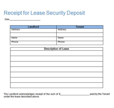 Security Deposit Receipt Template Uk by Deposit Receipt Template 9 Free For Pdf Word