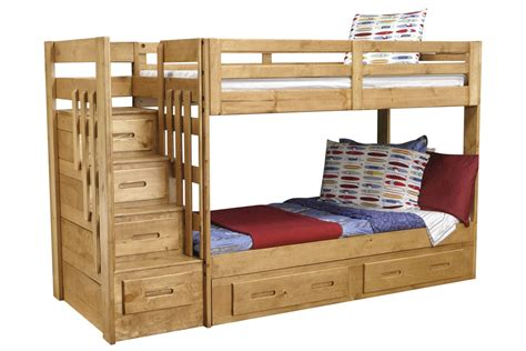 bunk beds with stairs and storage ponderosa twin stair storage bunk bed at gardner white