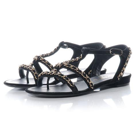 chain sandals chanel suede gladiator chain sandals 38 5 black 57988