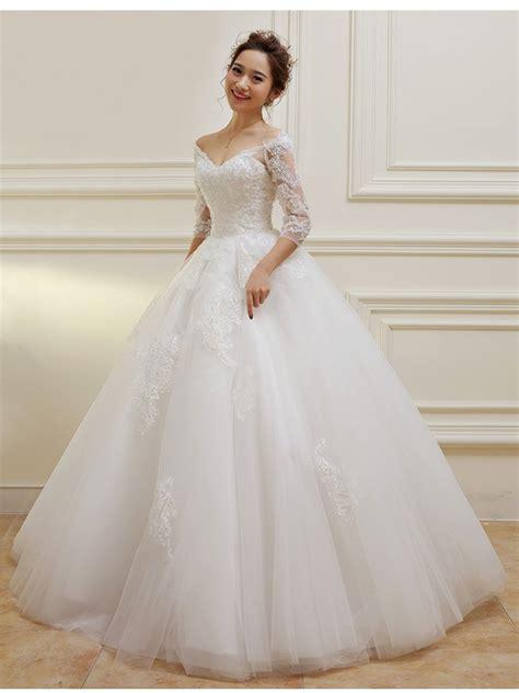 3 4 length sleeves v neck lace wedding dresses bridal