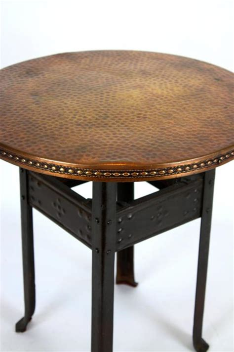 Hammered Copper Table L by Deco Hammered Iron And Copper Side Table At 1stdibs