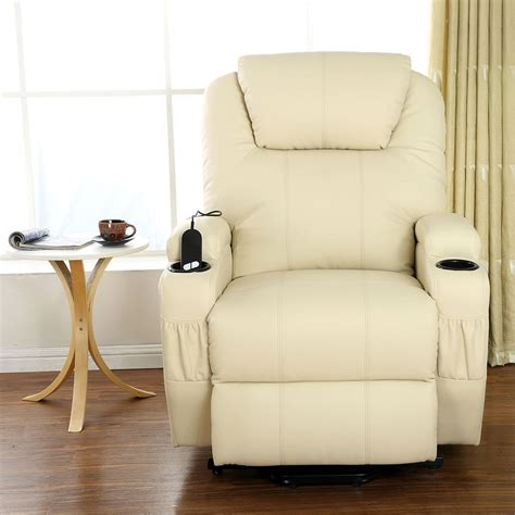 heated armchair cinemo cream elecrtic rise recliner leather massage heated