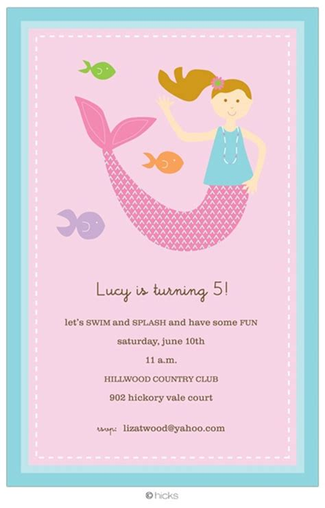 mermaid invitation kids party rsvp pinterest