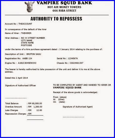 vehicle repossession letter template 28 images