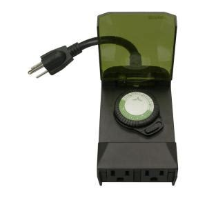 Light Timer Home Depot by Woods 24 Hour Outdoor Mechanical Light Timer 3 Conductor Black 50011 The Home Depot