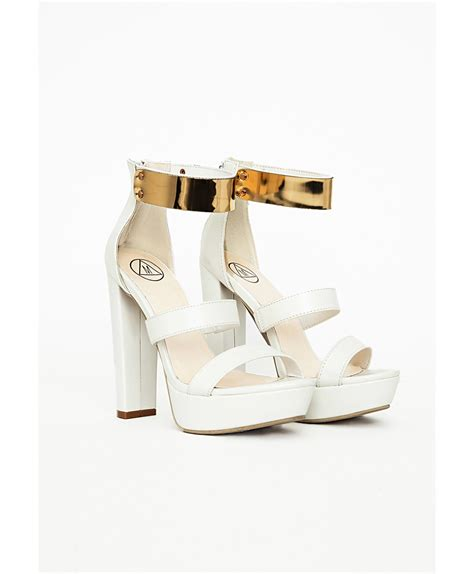 white and gold sandals missguided gold ankle platform heeled sandals white