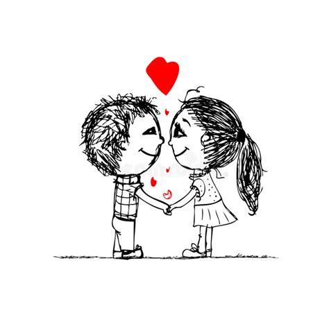 couple  love  valentine sketch   stock