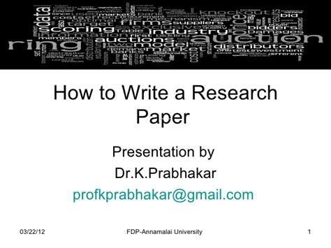 How To Make Research Paper Presentation - how to write a research paper