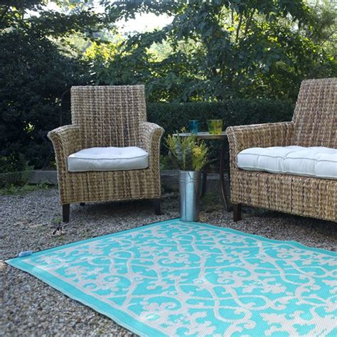 cream turquoise plastic outdoor rug patio rug indoor