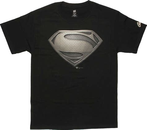 Superman Man of Steel Logo Black T Shirt StylinOnline.com