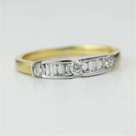 18ct 2 tone ring set with baguette diamonds adorn jewels