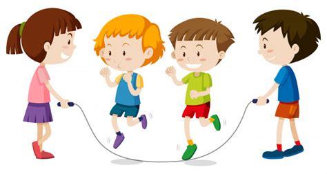 fotos o imagenes de niños jugando ni 241 os felices jugando jumprope descargar vectores premium