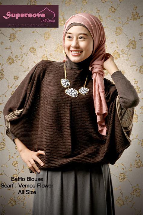 Cetakan Coklat Plastik Muslim Muslimah batflo blouse coklat tua baju muslim gamis modern