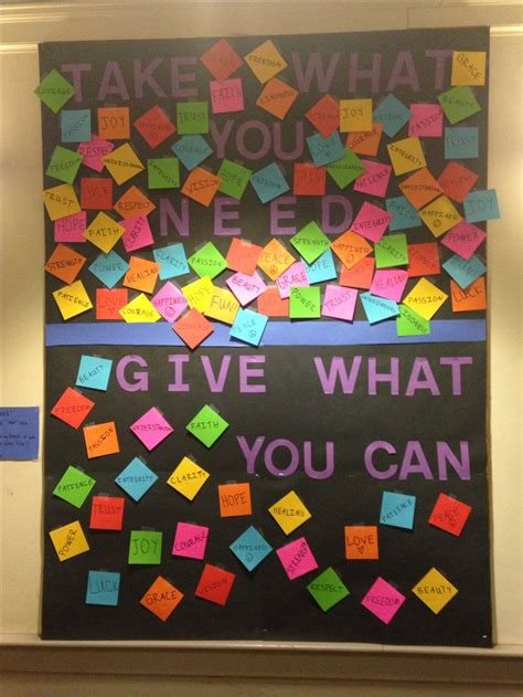 what can you give a for january bulletin board quot take what you need give what you can quot colorful stickies