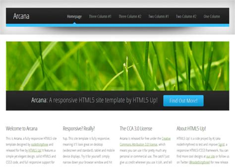 templates for website in html5 and css3 arcana responsive html5 theme html5xcss3