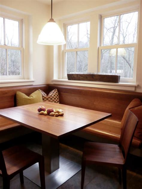 beautiful wood banquette  country dining nook hgtv