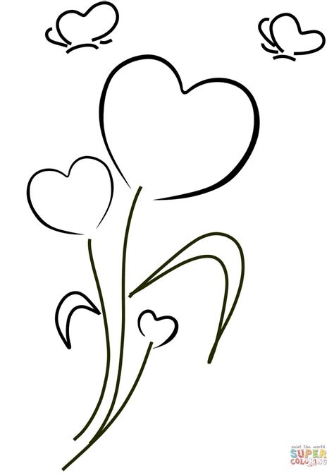 Hearts And Flowers Coloring Page Free Printable Coloring Hearts And Flowers Coloring Pages