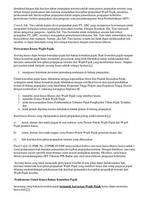Surat Kuasa Penunjukan Pengurus Yang Mewakili Dari Wajib Pajak Badan by Tentang Penandatangan Dokumen Perpajakan