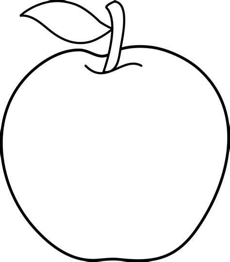 Apple Outline by Colorable Apple Line Free Clip