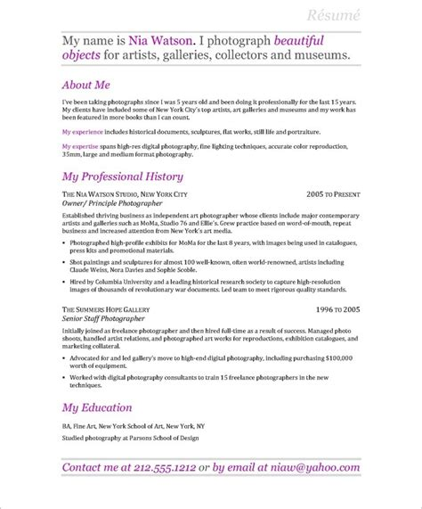 Professional Photographer Resume by Photographer Free Resume Sles Blue Sky Resumes