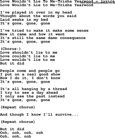 song to song lyrics for wouldn t lie to me trisha yearwood