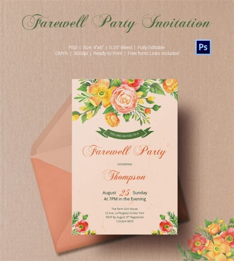 farewell card design template farewell invitation template 25 free psd format