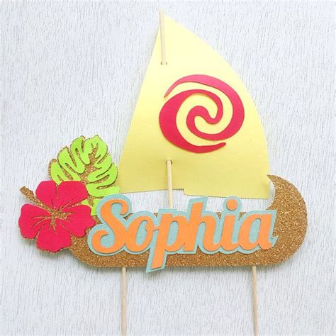 moana boat cupcake toppers moana sail boat cake topper personalized cake topper by