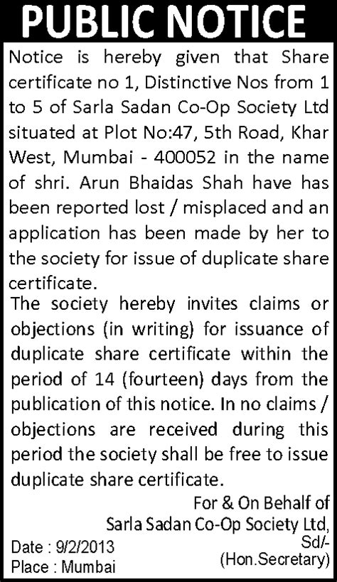 Missing Certificate Letter Indemnity Notice Ads Changeofnameads 375