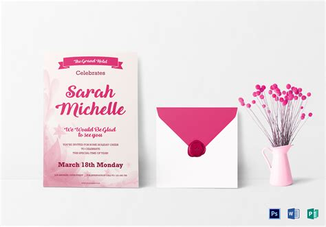 template for invitation card for debut debut invitation card design template in word psd
