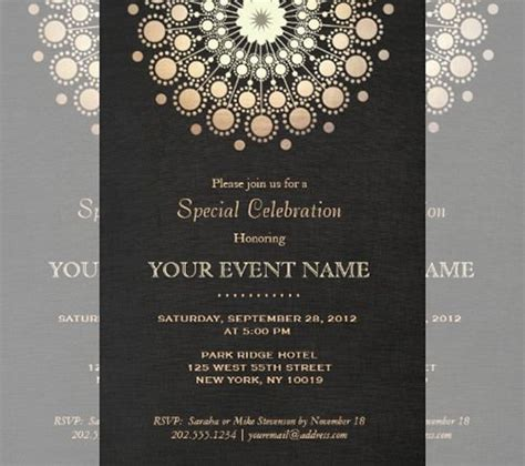 Layout Formal Invitation | black and gold bush design art deco ball invitations