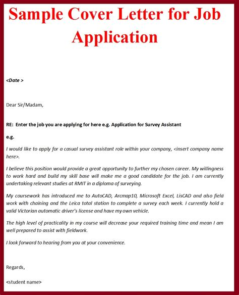 sle covering letter for job application by email the