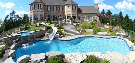 home pool designs custom pool with waterslide spa diamond brite finish