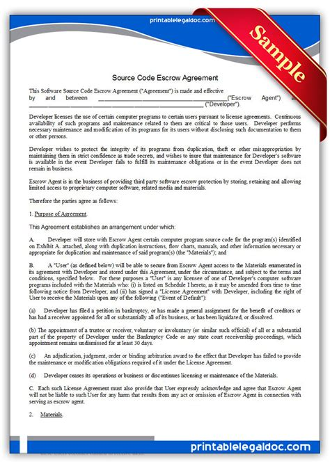 Free Printable Source Code Escrow Agreement Form Generic Escrow Template