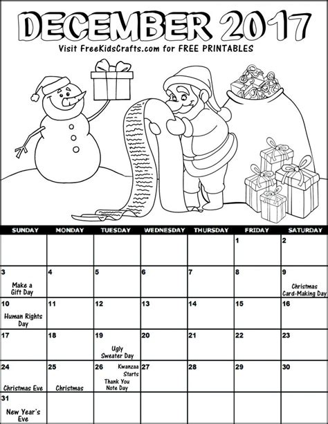 Printable Calendar 2017 For Kids