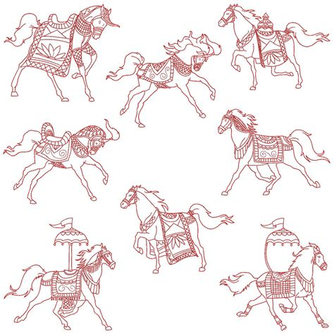 embroidery design redwork horses machine embroidery redwork patterns 8 designs