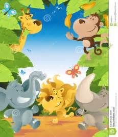 fun jungle animals border stock photography image 29564142