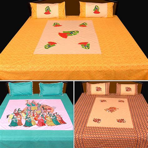 bed sheets and pillow covers buy rangotsav set of 3 embroidered jaipuri printed bed