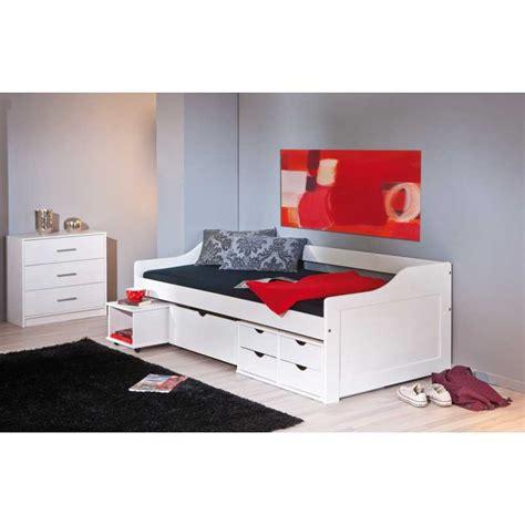 lit une personne avec rangement special rentree lit 90x200 cm avec tiroirs rangement coloris blanc