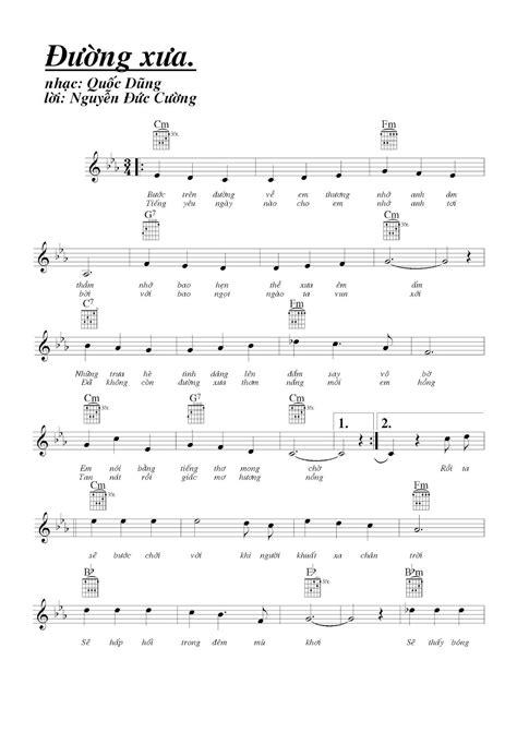 SHEET MUSIC FREE - Sheet PIANO FOR YOU ~ ĐƯỜNG XƯA