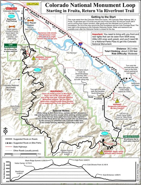 colorado national monument map colorado national monument west to east back via rft