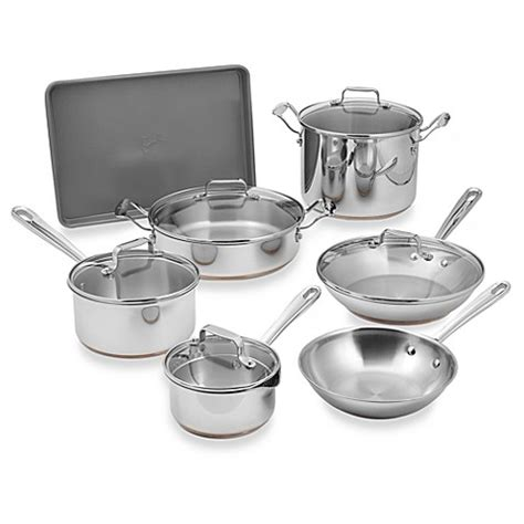 bed bath and beyond pots emerilware stainless steel 12 piece cookware set and open