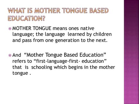 thesis about mother tongue based education mother tongue based education of indigenous people in