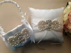 flower basket ring bearer pillow set rhinestone