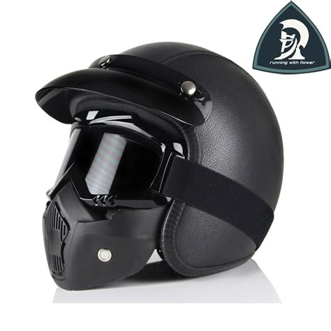 Helm Retro Leather Black best black brown retro pu leather open motorcycle