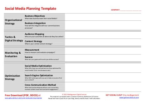 Social Media Planning Template Social Media Marketing Plan Template
