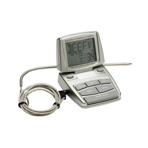 Termometer Thermoone bradley smoker silver digital food thermometer thermo the home depot