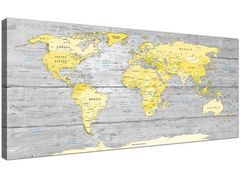 yellow map large yellow grey map of world atlas canvas wall print